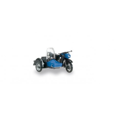 Herpa 053433.2 MZ 25 with matching sidecar, black / blue