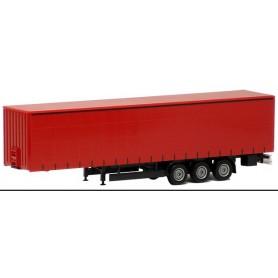 Herpa Exclusive 640355 Gardintrailer 3-axlig, röd med svart chassie