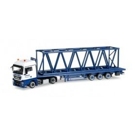 """Herpa 304689 MAN TGX XLX Euro 6 platform semitrailer with girder mast parts 12m """"Wasel Krane"""""""