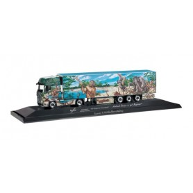 "Herpa 121620 Mercedes-Benz Actros Gigaspace refrigerated box trailer ""Herpa Weltgeschichte Nr.1.1"""