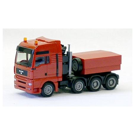 Herpa 3831 Dragbil MAN TG-A XXL, tungtransport, 4-axlig med kapellflak.