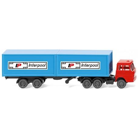 """Wiking 95002  Container tractor-trailer (Henschel) """"Interpool"""""""