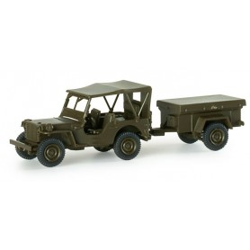 "Herpa 741989 All-terrain vehicle and trailer ""US"""