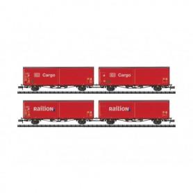 Trix 15544 Vagnsset med 4 godsvagnar Hirrs-tt 325 typ DB Cargo