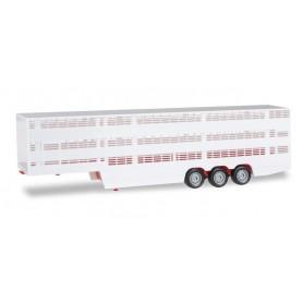 Herpa 076333-002 Cattle transporter trailer, red