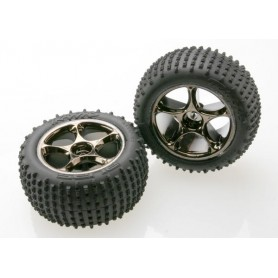 "Traxxas 2470A Däck, färdiglimmade, Alias Tires with Tracer 2.2"" Black Chrome Wheels (assembled, glued) (rear), 1 par"