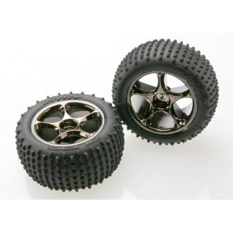 "Traxxas 2470A Däck, färdiglimmade, Alias Tires with Tracer 2.2"" Black Chrome Wheels (assembled, glued) (rear), 1 par"