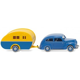 Wiking 82004 Ford Taunus G73A w. trailer blue/yellow, 1949