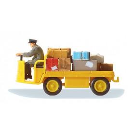 """Preiser 28146 Elektriskt baggagekärra """"Posten"""", med baggage och förare"""