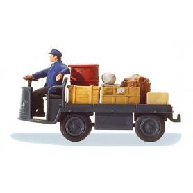 """Preiser 28147 Elektriskt baggagekärra """"DB"""", med baggage och förare"""