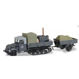 Herpa 745345 Ford Ersatz G 198 TWA Maultier SSM with field kitchen and trailer