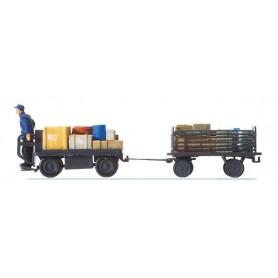 Preiser 10256 Elektriskt baggagekärra, med baggage och förare
