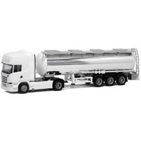 Herpa 918664 Bil & Tanktrailer Scania R Topline 2013, kromtrailer, omärkt