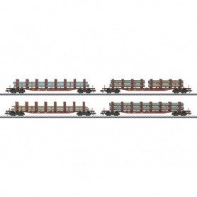 Märklin 47319 Vagnsset med 4 stolpvagnar Snps 719 typ DB AG med last av stål och rör