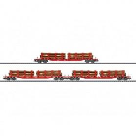 Märklin 47144 Vagnsset med 3 stolpvagnar Snps typ DB med last av trä
