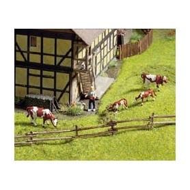 Noch 33010 Rundstocks-staket, 18 delar, 7 mm hög, ca 58 cm lång