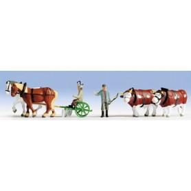 Noch 36625 Fältarbetare, 2 figurer, 4 djur med tillbehör.