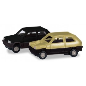 Herpa 065962.2 Fiat Panda 2 pieces, greenbeige / black