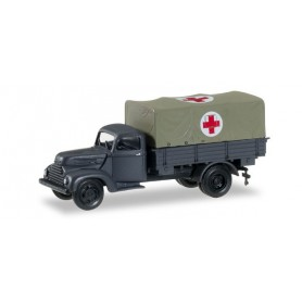 """Herpa 745451 Ford cologne canvas trailer """"Rotes Kreuz"""""""