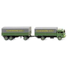 "Wiking 41002 Steel flatbed trailer - (Magirus 235 D) ""Schenker"""