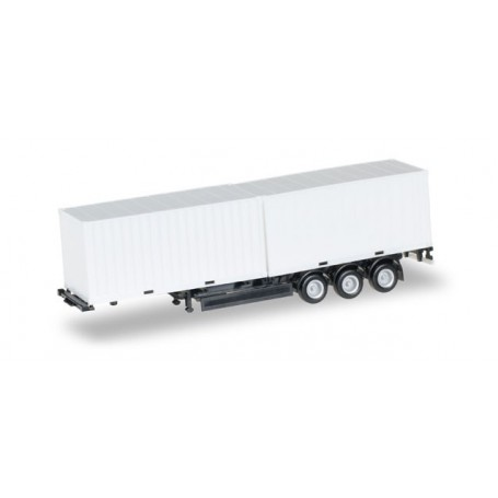 Herpa 076494.2 40 ft. Containerchassis Krone with 2 x 20 ft. Container, Chassis black