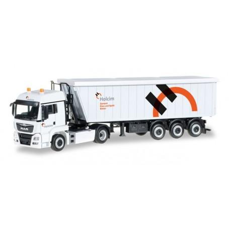 "Herpa 306171 MAN TGS LX Euro 6 Kempf Stöffel-Liner truck semitrailer ""Holcim"" (CH)"