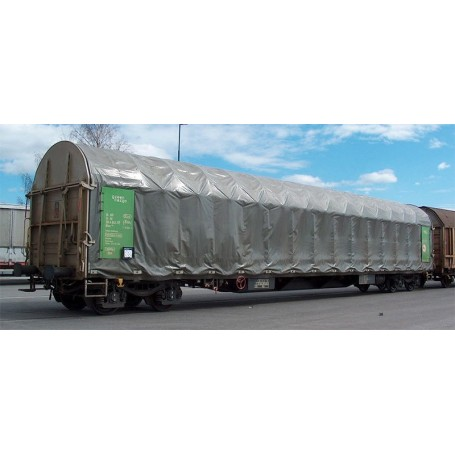 """B Models 45638DC Set med 2 vagnar typ Rils """"Green Cargo"""" med röd ratt"""