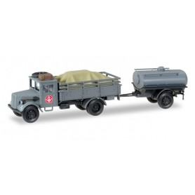 "Herpa 745628 Opel 3000 truck with loading and tank Trailer ""Fernmeldekompanie JG 1"""