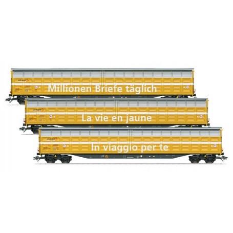 """Märklin 48059 Vagnsset med 3 godsvagnar typ Habbiillnss Wascosa """"Swiss Postal System"""""""