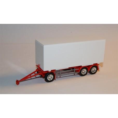 AMW 90643 Trailer, 3-axlig med container 7.15 meter, vit, omärkt