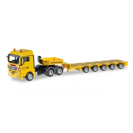"""Herpa 306379 MAN TGX XLX low boy semitrailer """"Leonhard Weiss"""" (3a/5a)"""