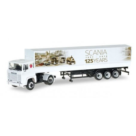 "Herpa 306430 Scania 141 canvas semitrailer ""125 Jahre Scania"""