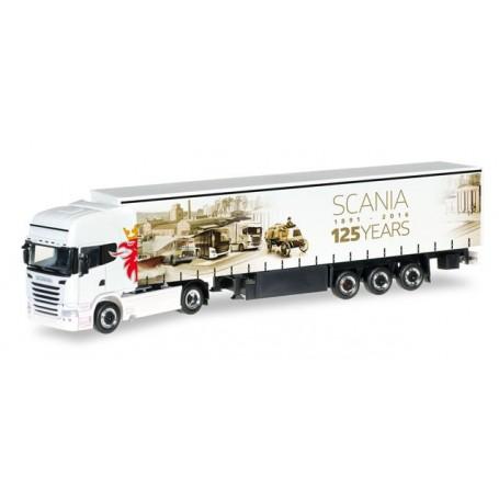 "Herpa 306461 Scania R `13 TL curtain canvas semitrailer ""125 Jahre Scania"""