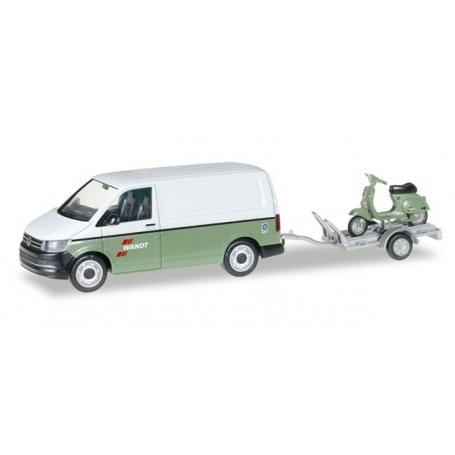 "Herpa 092760 VW T6 Kasten with trailer and Vespa ""Spedition Wandt"""