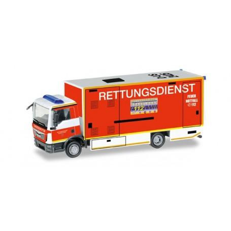"Herpa 092807 MAN TGL S/I-RTW box trailer with liftgate ""fire Department -Düsseldorf"""