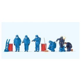 Preiser 10729 Brandmän med blåa dräkter, 6 st med tillbehör