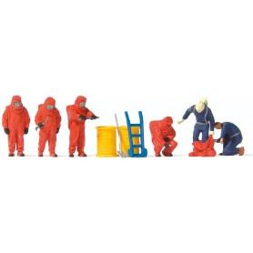 Preiser 10730 Brandmän med röda dräkter, 6 st med tillbehör