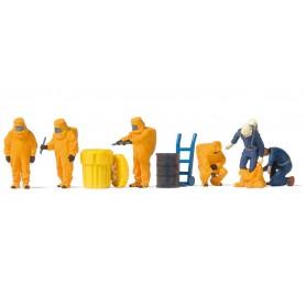 Preiser 10732 Brandmän med orange dräkter, 6 st med tillbehör