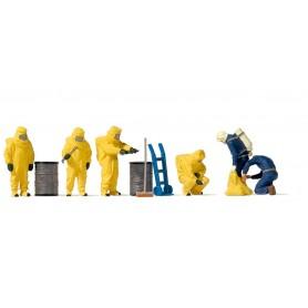 Preiser 10733 Brandmän med gula dräkter, 6 st med tillbehör