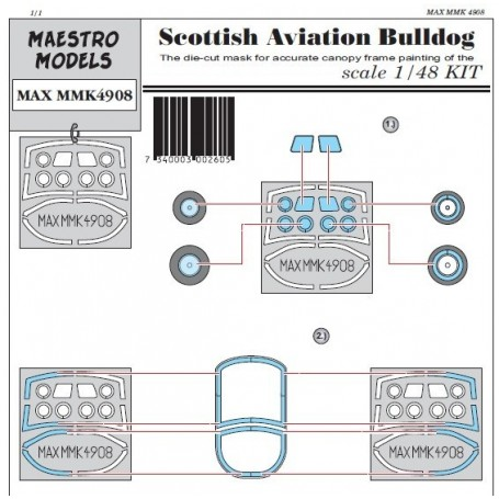 Maestro Models K4908 Scottish Aviation Bulldog canopy & wheel masking set