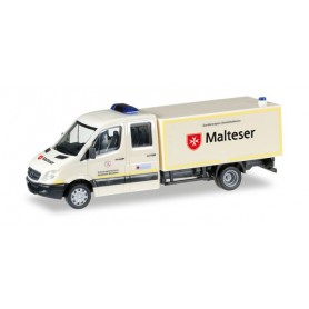 Herpa 092951 Mercedes-Benz Sprinter double cabin with box medical service equipment vehicle ?Malteser Hilfsdienst?