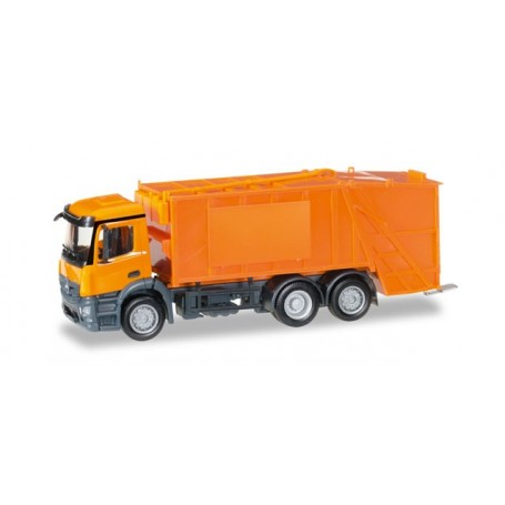 Herpa 307048 Mercedes-Benz Antos garbage truck, orange, undecorated