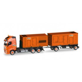 "Herpa 307031 Volvo FH GL XL Hooklift trailer pull with 2 power Units ""Boels"""