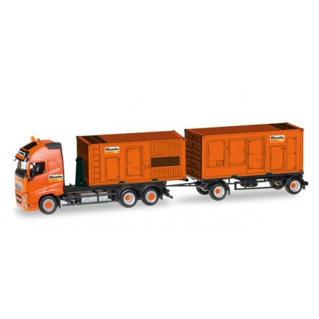 """Herpa 307031 Volvo FH GL XL Hooklift trailer pull with 2 power Units """"Boels"""""""