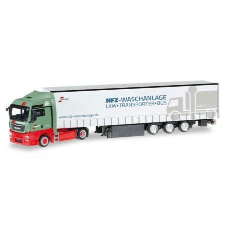"Herpa 306904 MAN TGX XLX Euro 6c curtain canvas semitrailer ""Wandt Waschpark"""