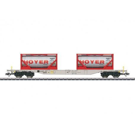 """Märklin 47064 Containervagn Sgnss 114 """"Hoyer"""" leasad av """"Green Cargo"""""""
