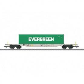 """Märklin 47065 Containervagn Sgnss 114 """"Evergreen"""" leasad av """"Green Cargo"""""""