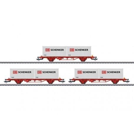 """Märklin 47725 Vagnsset med 3 containervagnar Lgs typ NSB """"DB Schenker"""""""