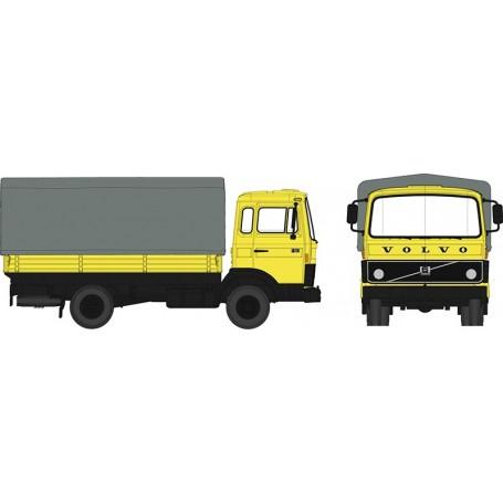 Brekina 34750 Lastbil Volvo F613 flak med kapell, gul