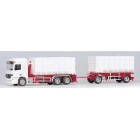 Herpa BM255066 Mercedes Benz Actros L container vit med rött chassie, omärkt